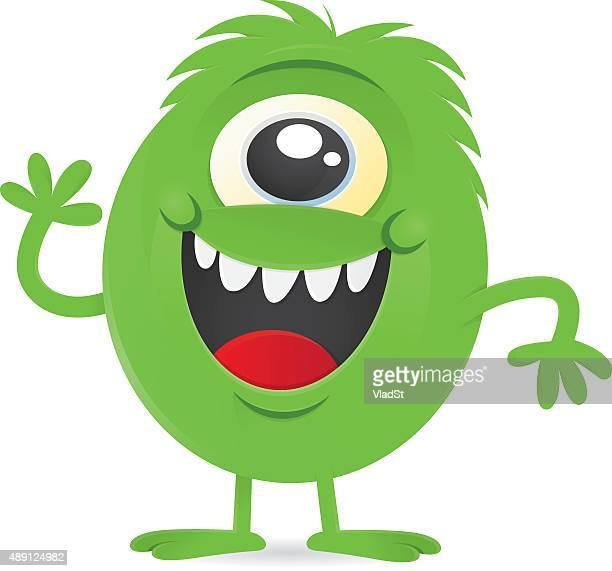 happy little green one-eyed monster alien character - monster stock illustrations, clip art, cartoons, & icons