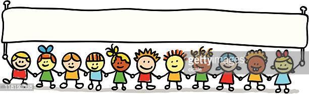 ilustraciones, imágenes clip art, dibujos animados e iconos de stock de happy little kids amigos sosteniendo en blanco vacío, banner ilustración dibujo animado - agarrados de la mano