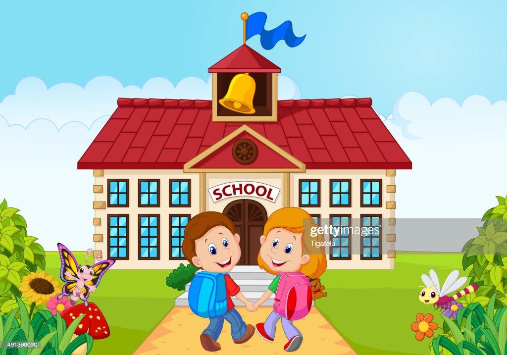 Happy little kids going to school