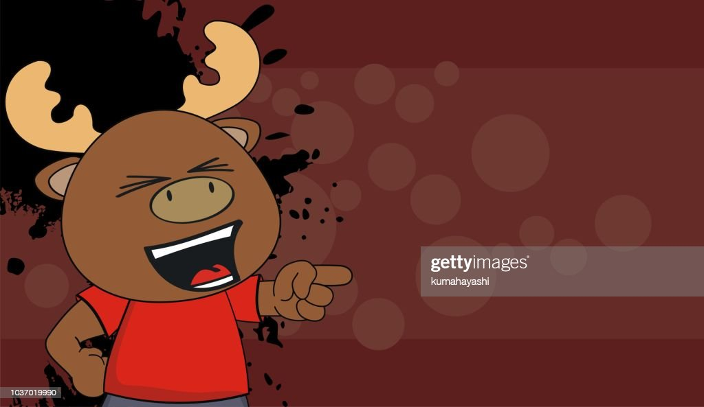 happy little moose kid cartoon expression background
