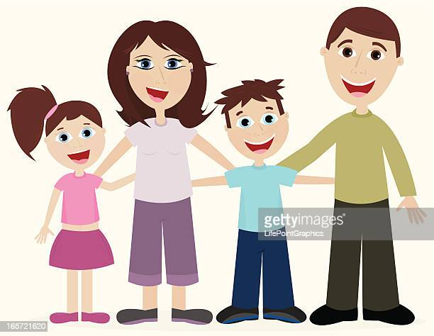 happy loving family - kids hugging mom cartoon stock illustrations