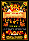 Happy Lunar Year greeting card of Chinese holidays