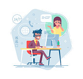 Happy male helpline operator with headset consulting a client. Online global tech support 24/7. Operator and customer. Technical support concept. Vector illustration in flat design.