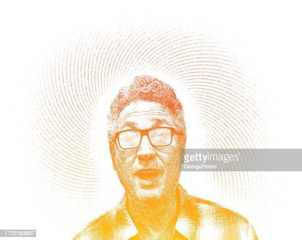 Happy Male Senior Citizen with frozen eyeglasses