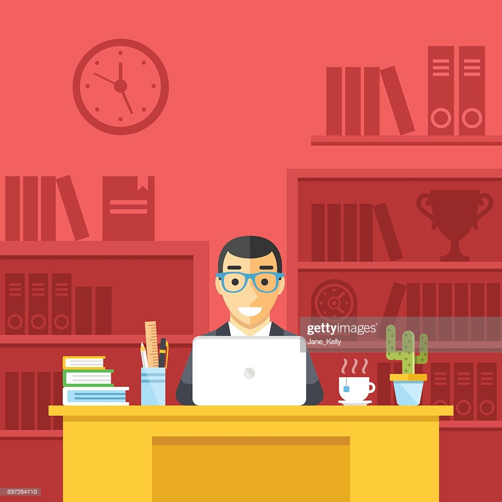 Happy man at work in office. Flat design vector illustration