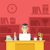 Happy man at work in office. Flat design vector illustration