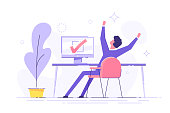 Happy man completed task and triumphing with raised hands on the his workplace.  Successful well done work. Completed task. modern vector illustration.