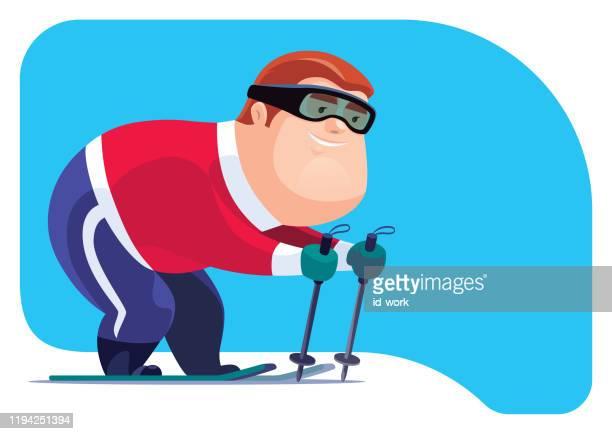 illustrations, cliparts, dessins animés et icônes de homme heureux va skier - ski humour