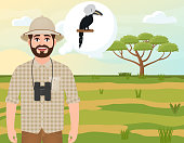 Happy man in a cork hat, an animal hunter thinks about the African white-clowned Hornbill, safari landscape, an acacia umbrella, African countryside, vector illustration