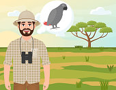 Happy man in a cork hat, an animal hunter thinks of an African Jaco parrot, safari landscape, umbrella acacia, African countryside, vector illustration
