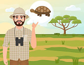 Happy man in a cork hat, animal hunter thinks about a turtle, landscape safari, acacia umbrella, African countryside, vector illustration