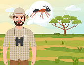Happy man in a cork hat, animal hunter thinks about an ant, safari landscape, acacia umbrella, African countryside, vector illustration