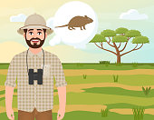 Happy man in cork hat, animal hunter thinks about a mouse, safari landscape, acacia umbrella, African countryside, vector illustration
