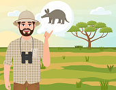 Happy man in cork hat, animal hunter thinks about aardvark, safari landscape, acacia umbrella, African countryside, vector illustration