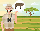 Happy man in cork hat, animal hunter thinks about African buffalo, safari landscape, acacia umbrella, African countryside, vector illustration