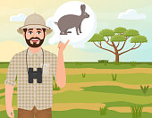 Happy man in cork hat, animal hunter thinks about African savannah hare, safari landscape, acacia umbrella, African countryside, vector illustration