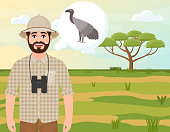 Happy man in cork hat, animal hunter thinks about African vulture, landscape safari, acacia umbrella, African countryside, vector illustration