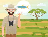 Happy man in cork hat, animal hunter thinks about alestes fish, landscape safari, acacia umbrella, african countryside, vector illustration