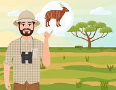 Happy man in cork hat, animal hunter thinks about bongo antelope, landscape safari, acacia umbrella, african countryside, vector illustration