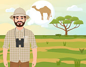 Happy man in cork hat, animal hunter thinks about camel, safari landscape, umbrella acacia, African countryside, vector illustration