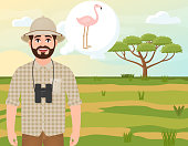 Happy man in cork hat, animal hunter thinks about flamingo, safari landscape, umbrella acacia, African countryside, vector illustration
