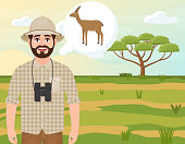 Happy man in cork hat, animal hunter thinks about gazelle dorcas, landscape safari, acacia umbrella, African countryside, vector illustration