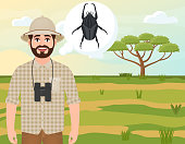 Happy man in cork hat, animal hunter thinks about Goliath beetle, landscape safari, acacia umbrella, African countryside, vector illustration