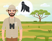 Happy man in cork hat, animal hunter thinks about gorilla, safari landscape, umbrella acacia, African countryside, vector illustration