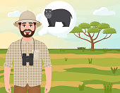 Happy man in cork hat, animal hunter thinks about hippo, landscape safari, acacia umbrella, African countryside, vector illustration