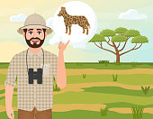 Happy man in cork hat, animal hunter thinks about hyenoid dog, safari landscape, acacia umbrella, African countryside, vector illustration