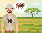 Happy man in cork hat, animal hunter thinks about spider, safari landscape, acacia umbrella, african countryside, vector illustration