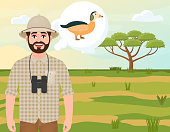 Happy man in cork hat, animal hunter thinks of a dwarf goose, safari landscape, acacia umbrella, African countryside, vector illustration