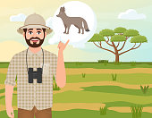 Happy man in cork hat, animal hunter thinks of African fox, landscape safari, acacia umbrella, African countryside, vector illustration