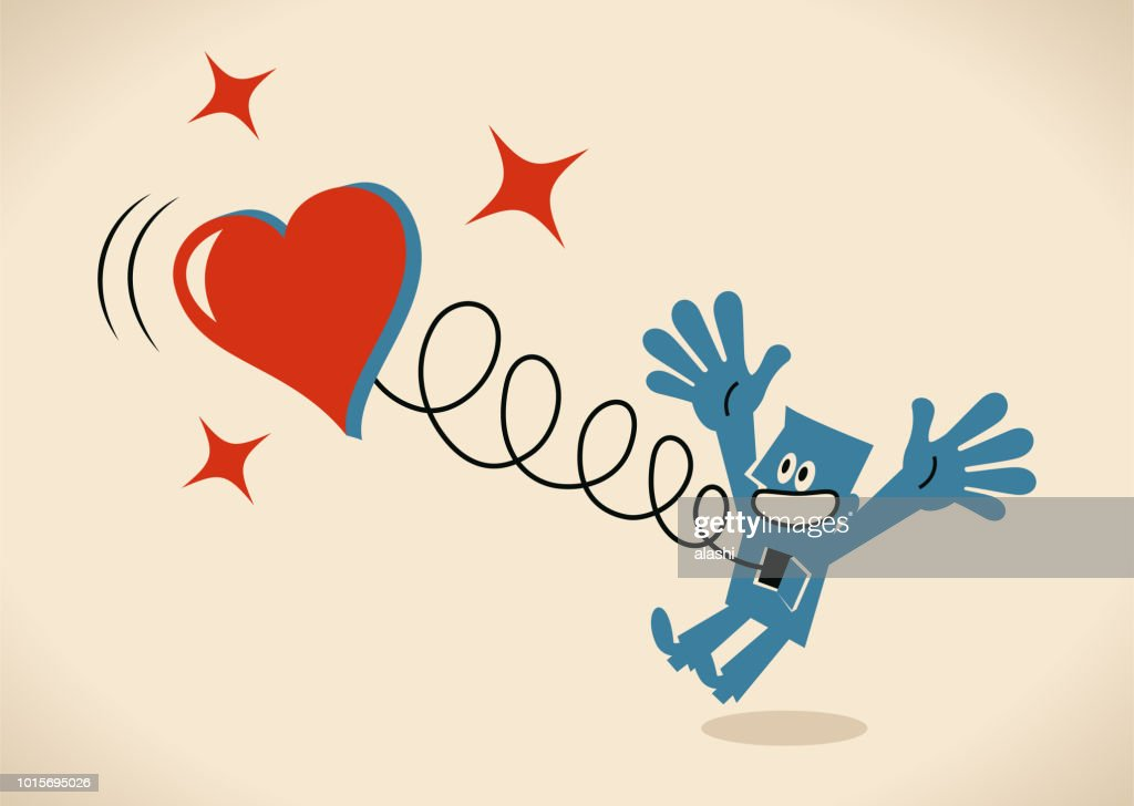 Happy man jumping and a big heart springing out of his body : stock illustration