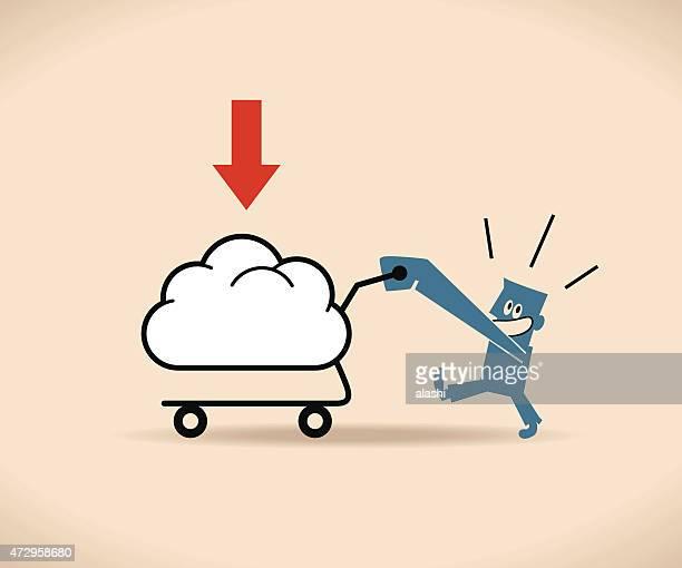 Happy man (Businessman) pushing a cloud shaped shopping cart