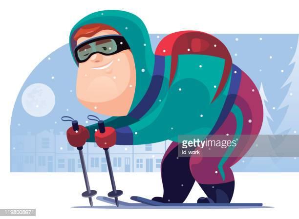 illustrations, cliparts, dessins animés et icônes de ski heureux d'homme - ski humour