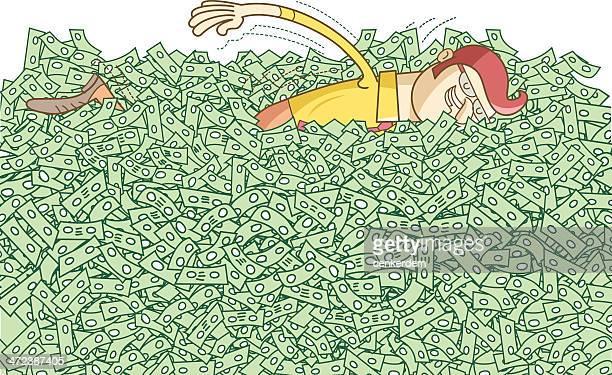 ilustraciones, imágenes clip art, dibujos animados e iconos de stock de hombre feliz swimming - dinero