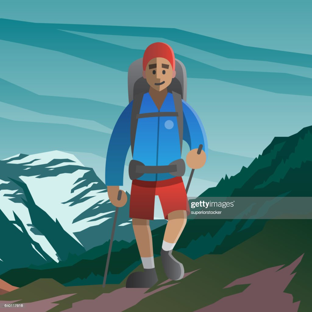 Happy man walking in the mountains. Front view.