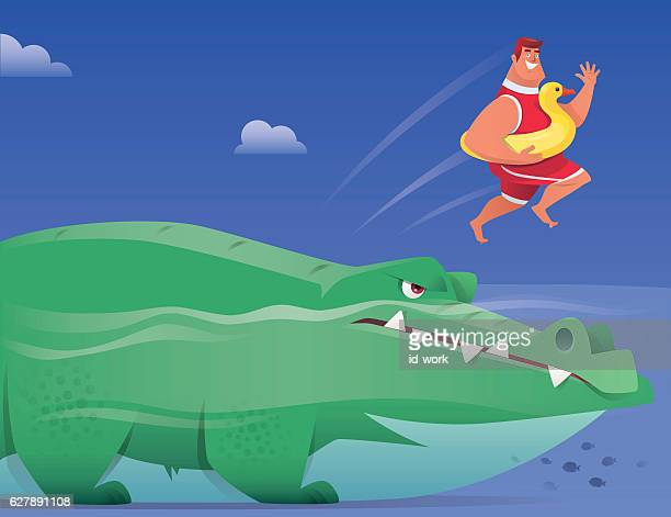 happy man with duck buoy jumping from big crocodile - crocodile stock illustrations