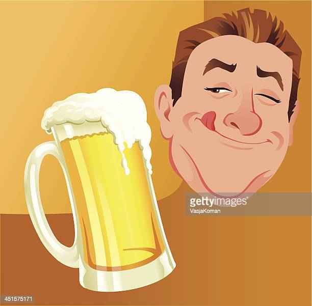 happy man with jug of beer - licking stock illustrations, clip art, cartoons, & icons