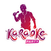 Happy man with microphone sings karaoke, live music concert vector invitation leaflet. Karaoke party writing.