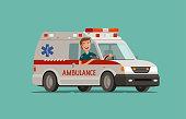 Happy medic goes on car. Ambulance service, emergency care, hospital concept. Medicine vector illustration