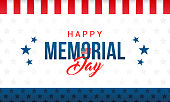 Happy Memorial Day Card Vector illustration. Typography on star pattern background.