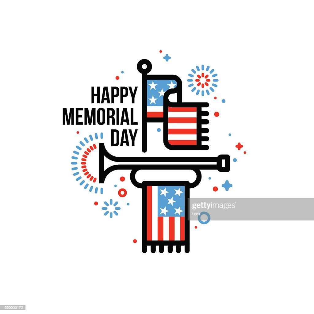 Happy Memorial Day greeting card with American flag and bugle
