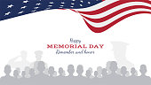Happy memorial day. Greeting card with flag and soldier on background. National American holiday event. Flat Vector illustration EPS10