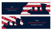 Happy memorial day. Set vintage retro greeting card with flag and soldier with old-style texture. National American holiday event. Flat Vector illustration EPS10