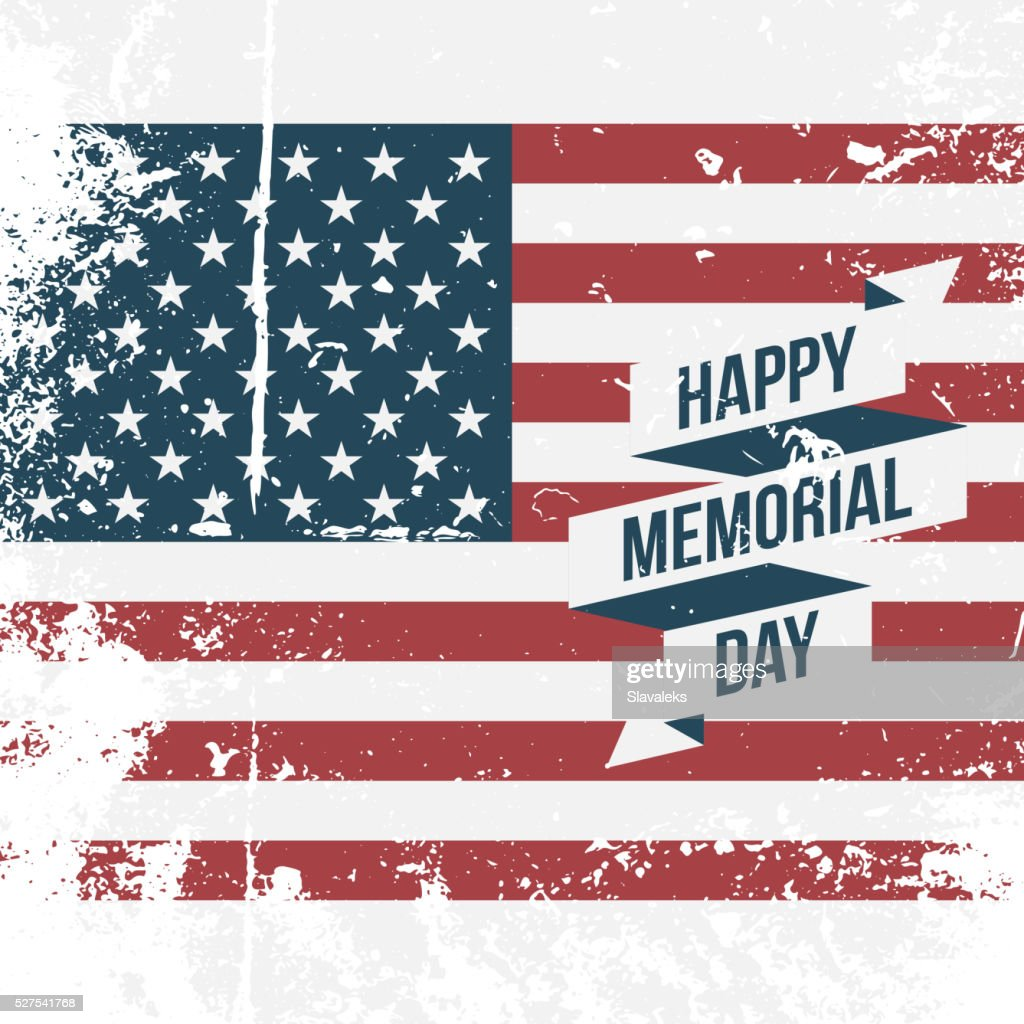 Happy Memorial Day USA grunge Flag Background