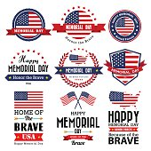 Happy Memorial Day vector greeting card ,badge and labels