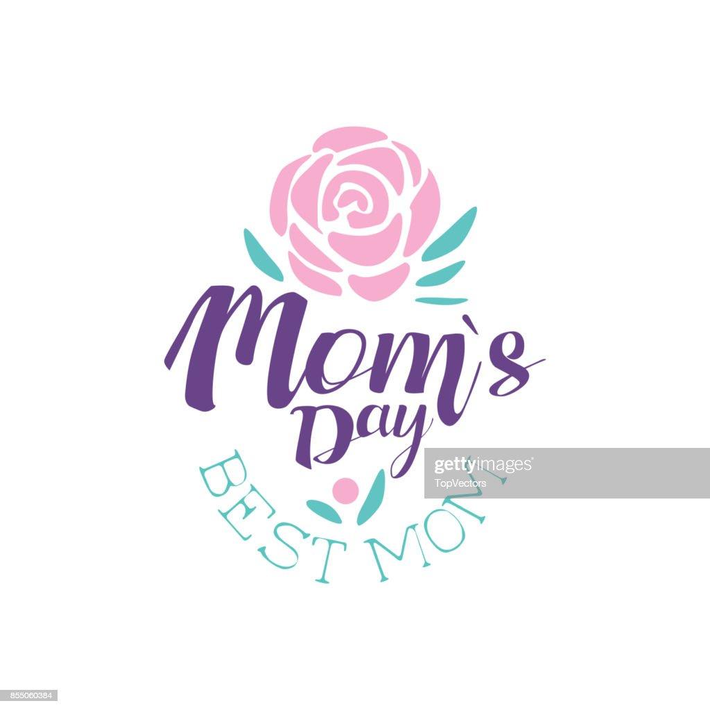 Glückliche Mütter Tag Logo Vorlage Beste Mama Label Mit Blumen ...