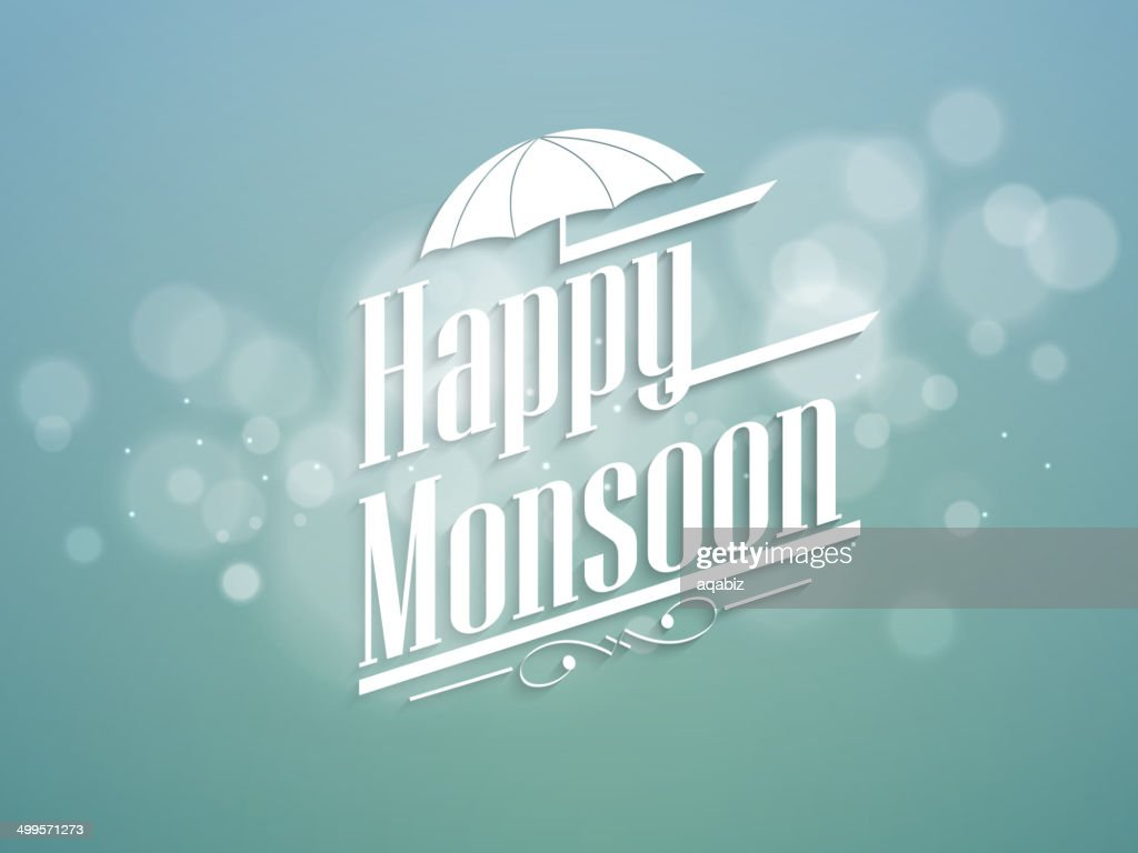 Happy Monsoon text with open umbrella on shiny blue background.